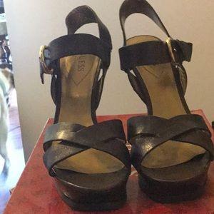 Guess brown platform sandals.  Size 8